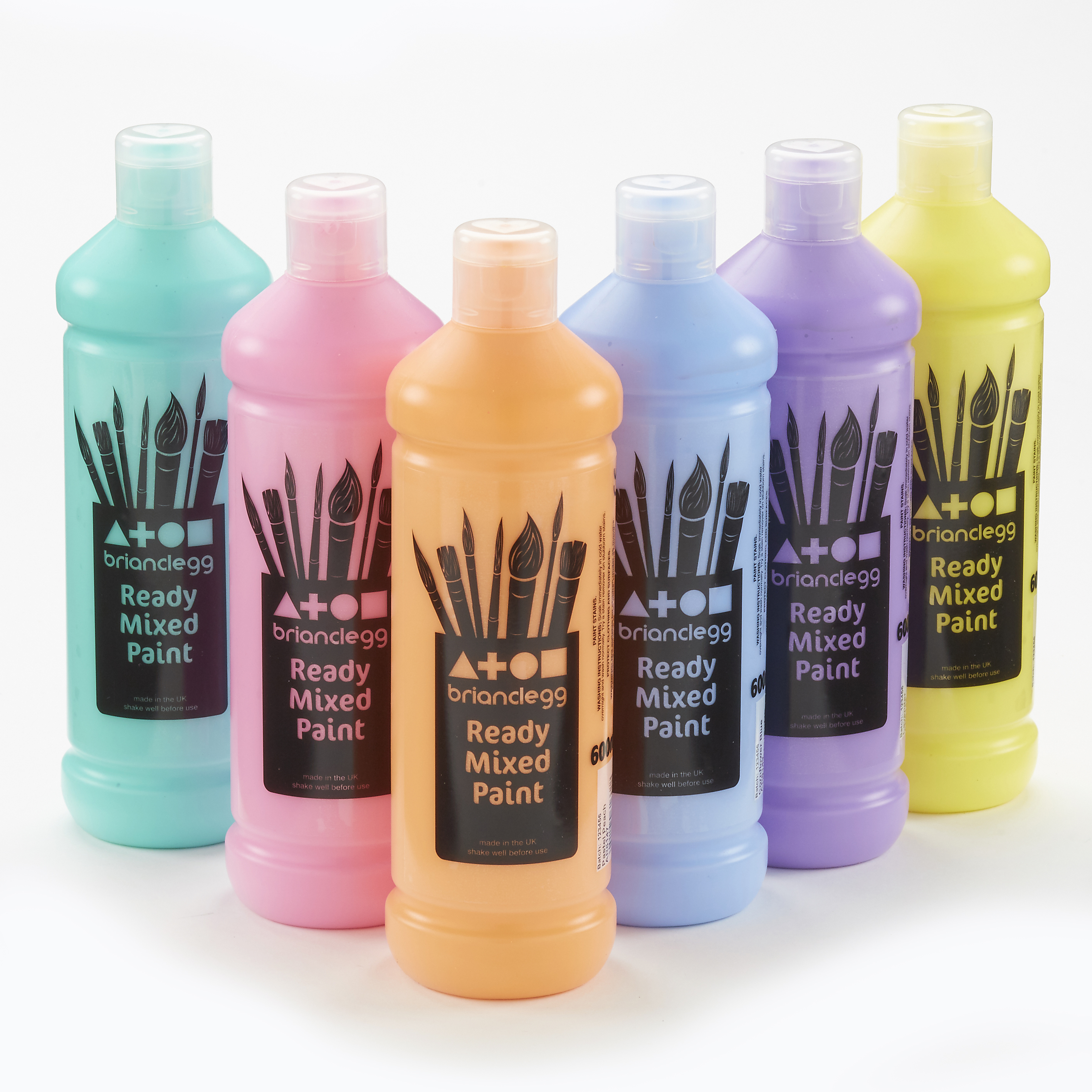 Ready Mixed Paint Pastel Assorted Colours 6x600ml Bottles