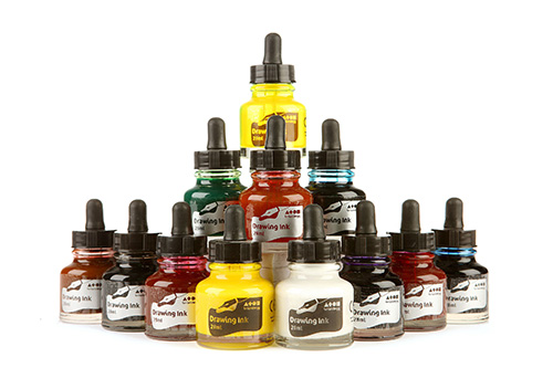 Drawing Ink Assorted Std Colours 12x28ml Dropper Bottles