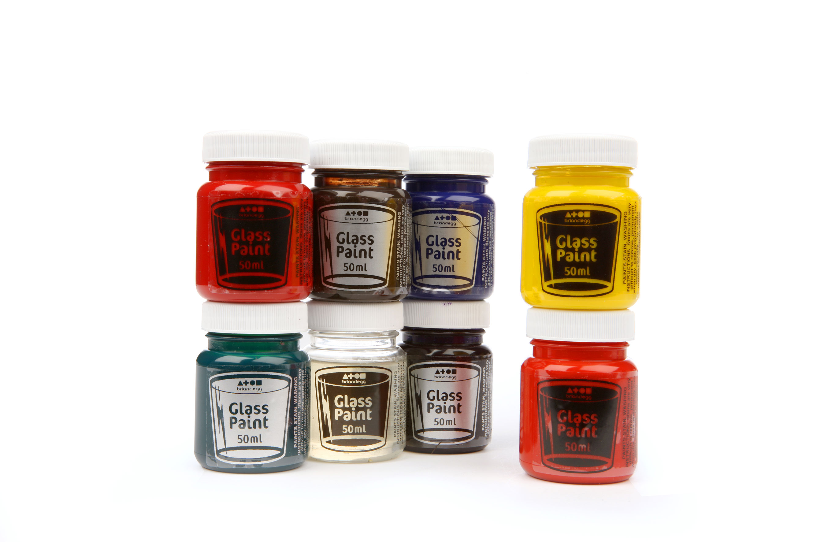 Glass Paint Assorted Std Colours 8x50ml Tubs
