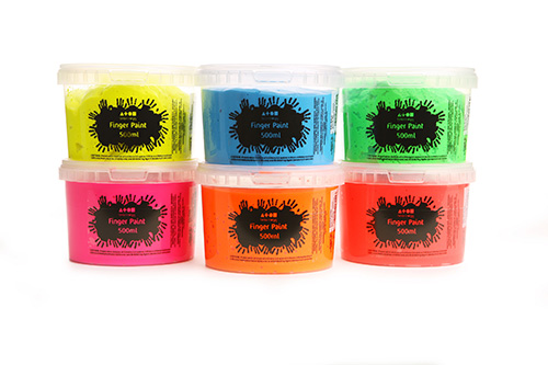 Brian Clegg | Finger Paint Assorted Fluorescent Colours 6x500ml Tubs