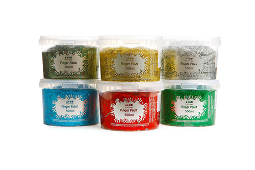 Finger Paint Assorted Glitter Colours 6x500ml Tubs
