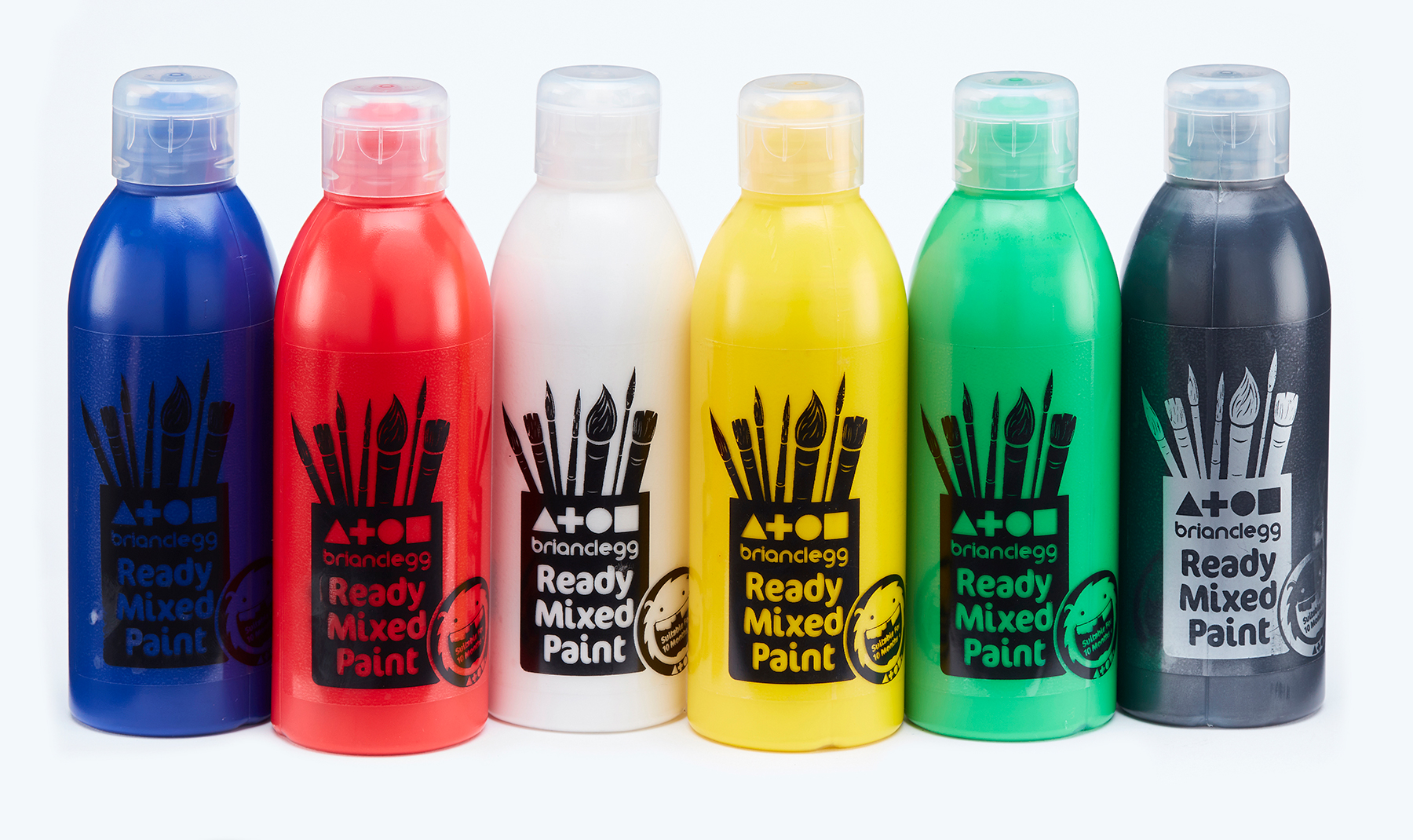 Ready Mixed Paint Assorted Std Colours 6x300ml Bottles