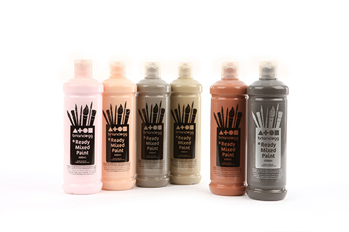 Ready Mixed Paint Assorted Skin Tones 6x600ml Bottles