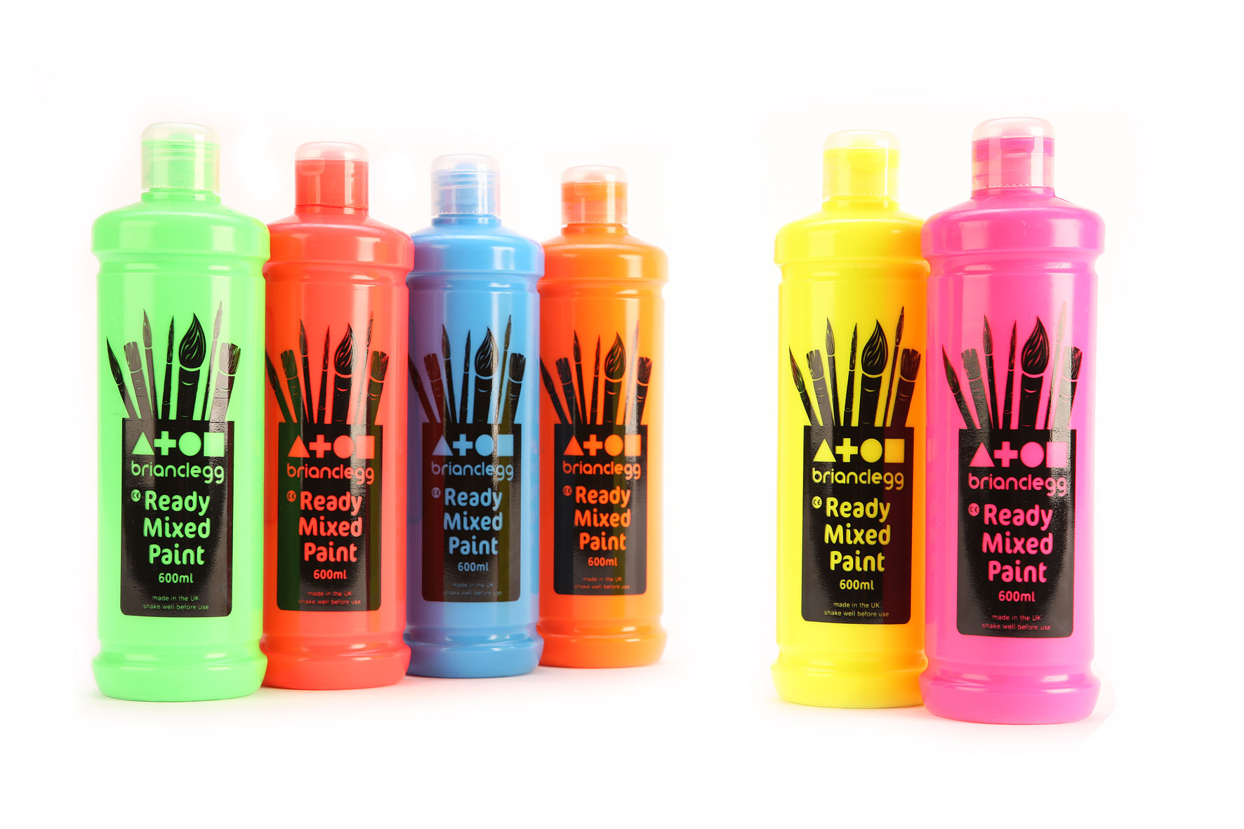 Ready Mixed Paint Single Fluorescent Colours 600ml Bottle