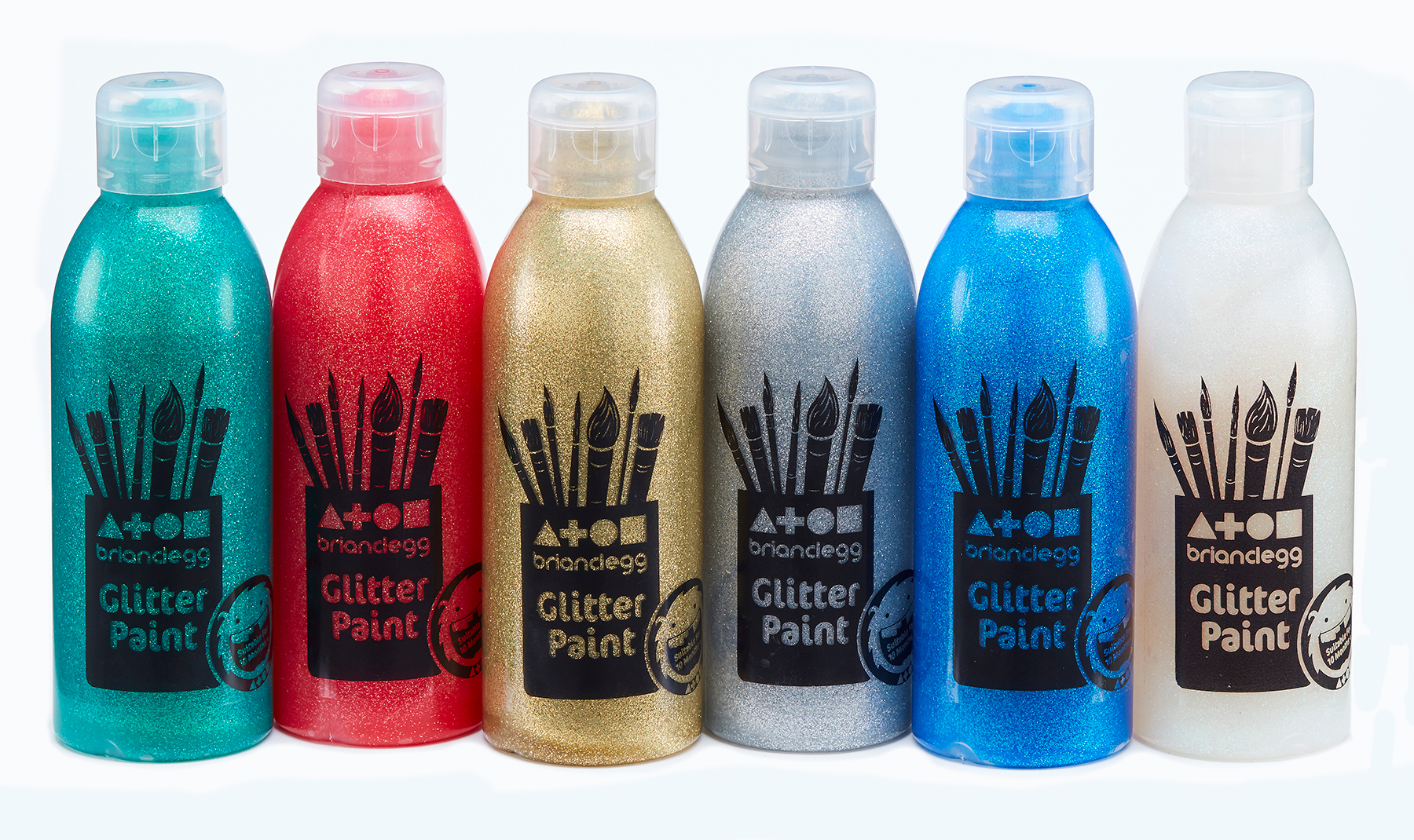 Glitter Paint Assorted Set 1 Std Colours 6x300ml Bottles