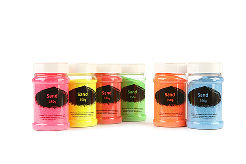 Fluorescent Sand Assorted Colours 6x350g Shakers