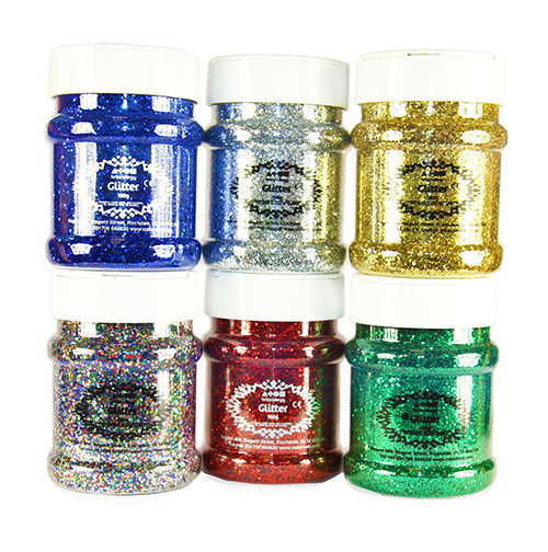 Glitter Mixed Pack Std Shades 6x100g Shakers