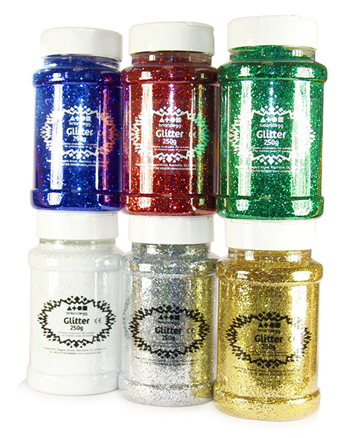 Glitter Mixed Pack Std Shades 6x250g Shakers