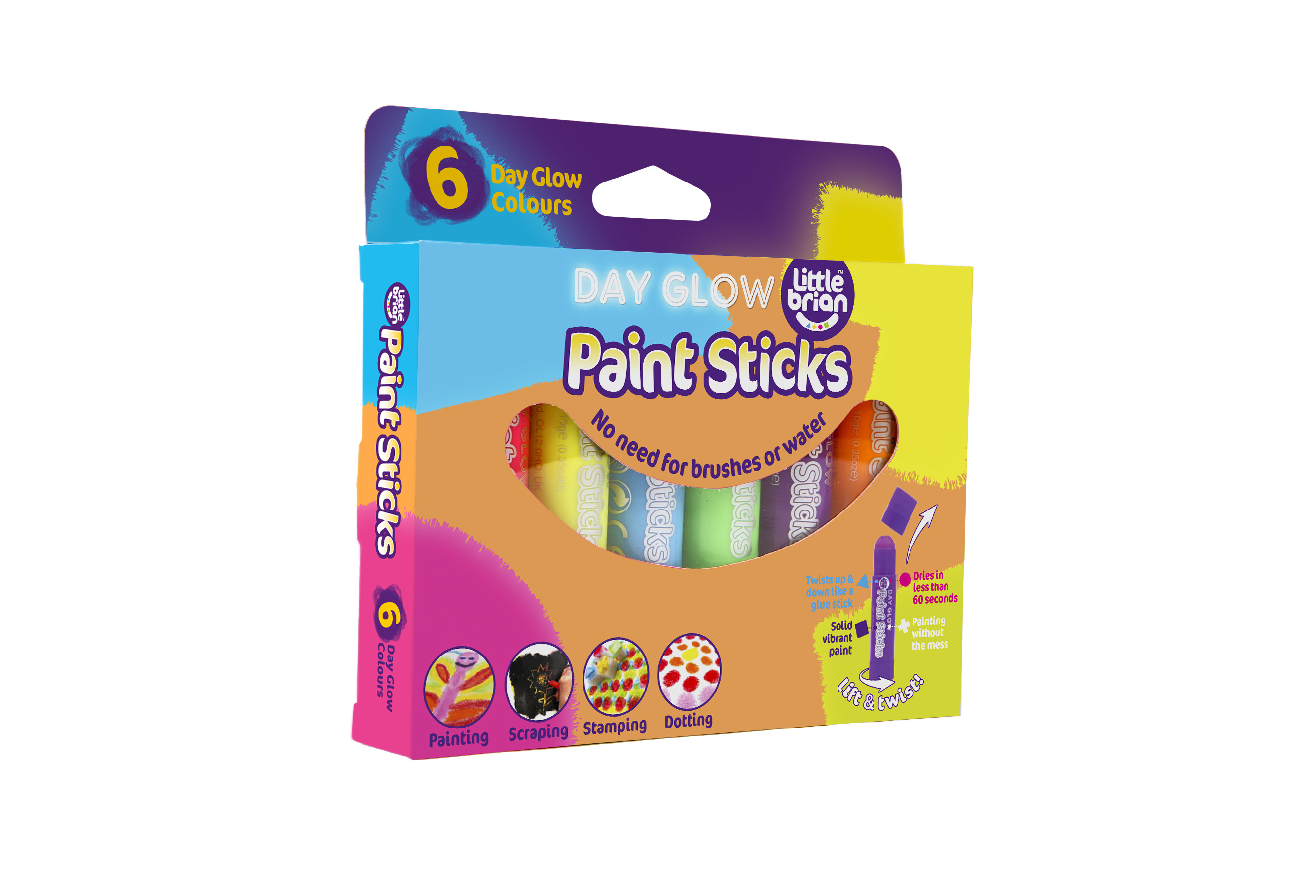 Little Brian Paint Sticks Day Glow 6 Assorted